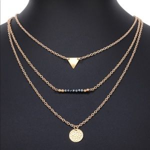 Jewelry - Triangle & Round Pendant Layered Necklace
